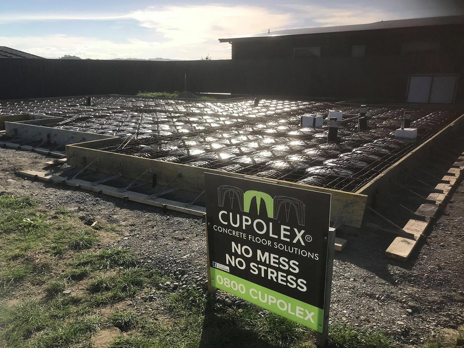 cupolex floor at sunset ready for concrete pour